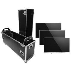"""Universal Flatscreen Flightcase 60""""- 80"""" für 1-3 Bildschirme"""