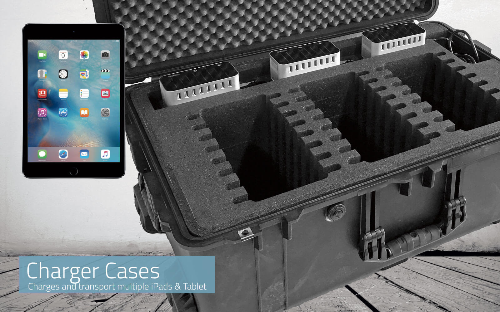 Transport, charge and protect multiple iPads & Tablets.